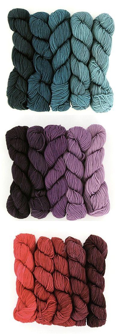 Wonderland Yarns Mad Hatter gradient yarn packs, 5 skeins of 100% superwash merino wool, spun and dyed in the USA