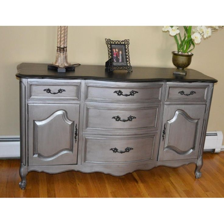 Refinished French Provincial Buffet Painted In Tarnished