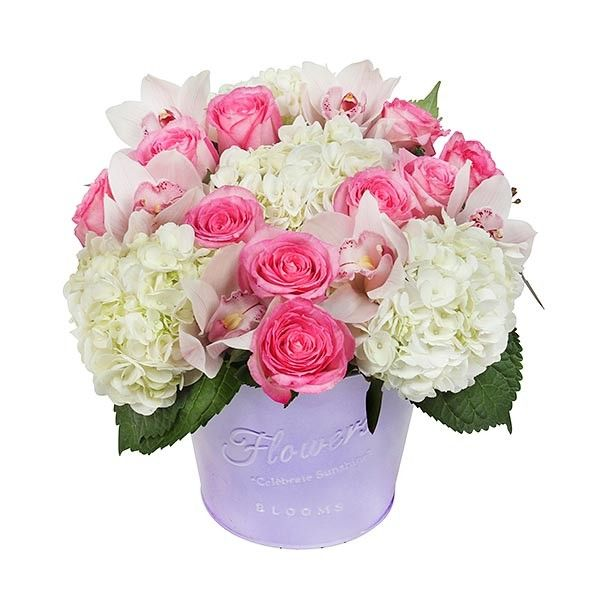 PlantShed | Pretty Woman | Same Day Flower Delivery NYC | Hot pink roses & pale pink orchids surrounded by white hydrangea.