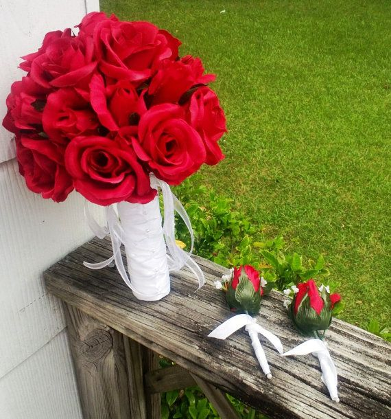 Bridal bouquet Red Roses & Red Rose Buds Red by SilkFlowersByJean, $65.00