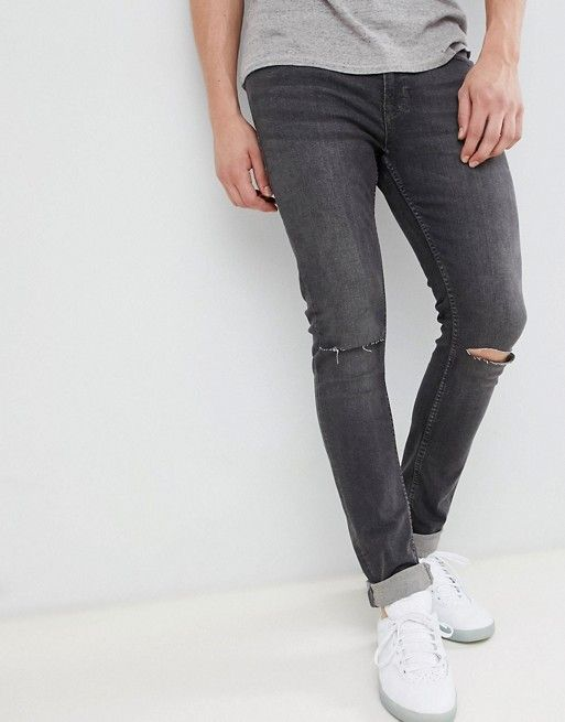 901fe25d2b9 Jack & Jones Intelligence skinny fit rip knee jeans in dark grey in ...
