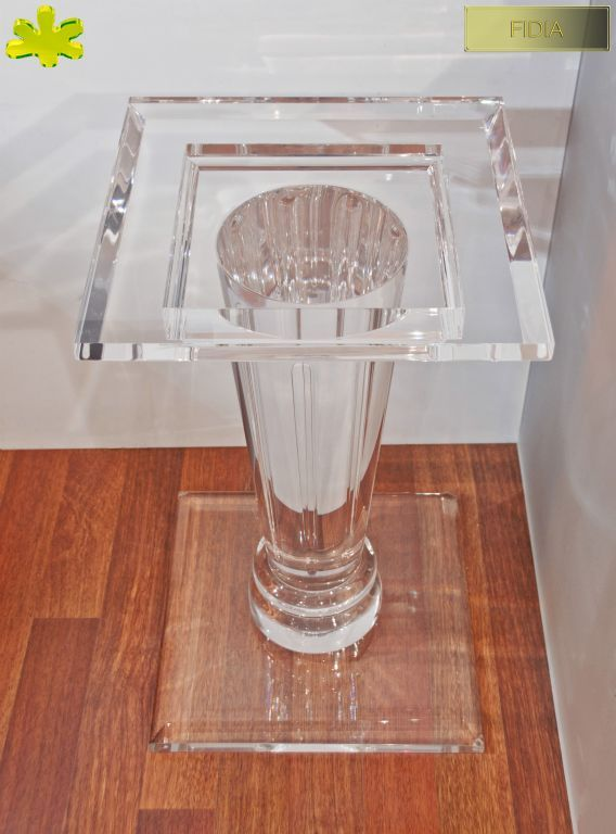 COLONNE IN PLEXIGLAS | Colonna in plexiglass 02.mod.   FIDIA | Colonne plexiglass fusto diam.cm.20 - piani cm.45 x 45 sp.cm.4 - h.tot.cm.75