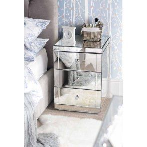 Pair of LUCIA Mirrored Bedside Tables with 3 Drawers