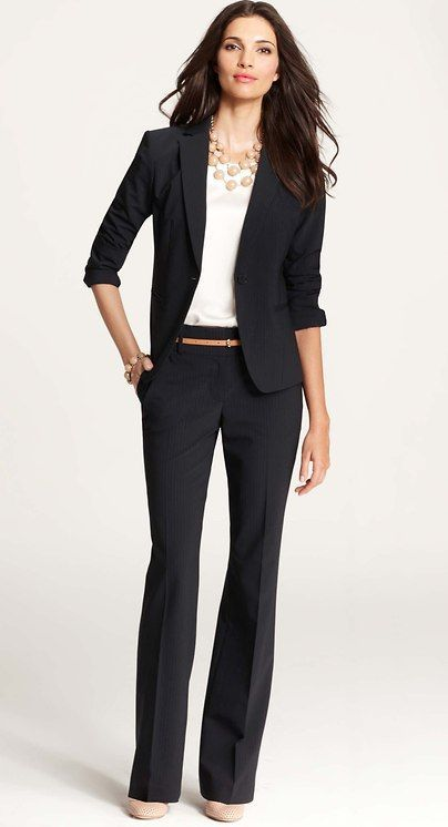 Black Ann Taylor pant suit with wide legged slacks.