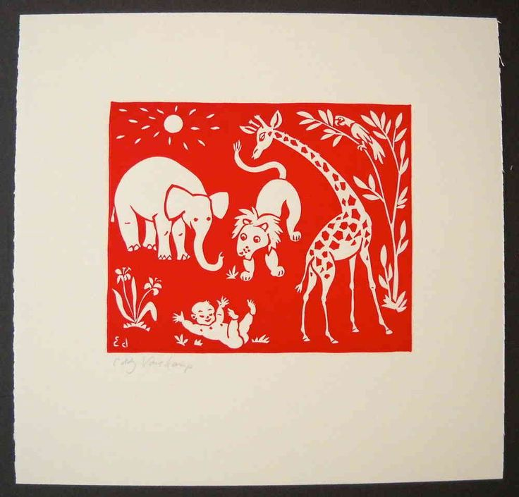 Linocut, baby with various animals