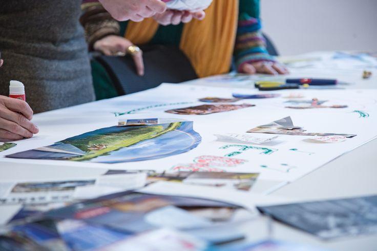 Das #Storyboard wird als Collage erstellt: es wird geklebt und gezeichnet. #Storytelling #Workshop #Storymap #7pointstory