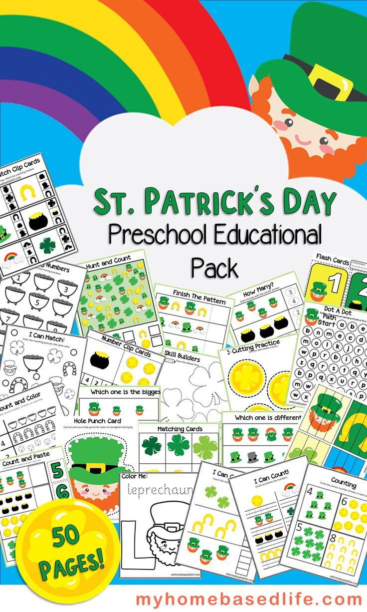 Print and enjoy this 50 Page St. Patrick's Day Preschool Activity Book with your kids. Counting, tracing, lacing, coloring and so much more fun! Homeschooling | Printable Worksheets | St. Patrick's Day | Preschool Activities | Kindergarten Activities | Kids Activities | #homeschooling #stpatricksday #preschoolactivities via @myhomebasedlife