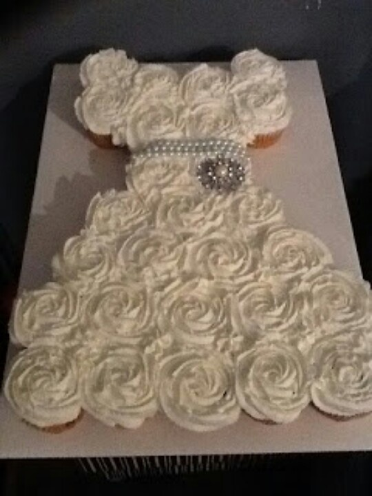 Cute lil idea for bridal shower cake..cupcakes in the shape of a wedding dress :) love it