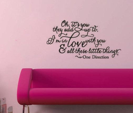 One Direction Little Things Vinyl Wall Decal Sticker Lyrics. $25.00, via Etsy.