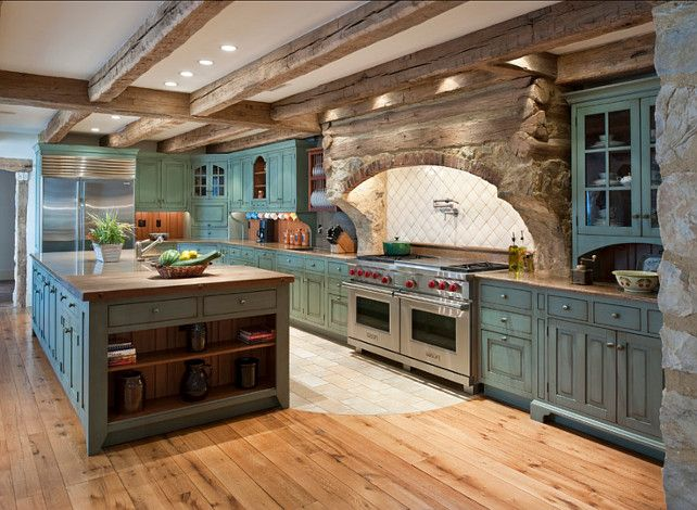 Rustic Kitchen. The cabinet Paint Color in this rustic kitchen is custom blend with an distressed finish. #RusticKitchen #CabinetPaintColor