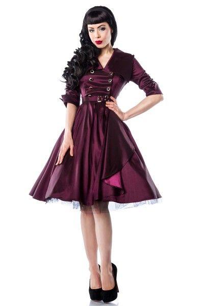 Meerweibchen.de Rockabilly-Kleid   - stilechtes Rockabilly-Kleid - hochwertig verarbeitet - mit typischem Rockabilly-Kragen - Ärmel mit Knopfverzierung - seitlicher Reißverschluss - vorne mit doppelreihiger Knopfleiste  - überlappend eingearbeiteter, abgerundeter Schlitz  - der Gürtel ist inklusive - ein Petticoat komplettiert die Retro-Optik (12147)