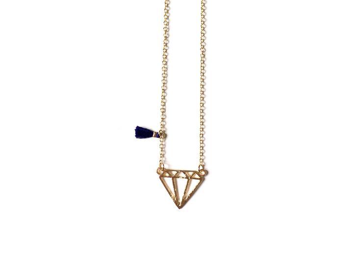 Collier pendentif DIAMANT doré - pompon bleu nuit - chaine dorée : Collier par kopacana