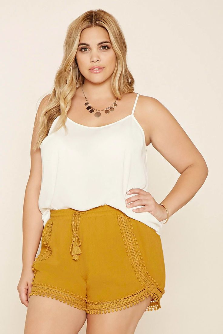 Forever 21+ - A pair of crinkled woven shorts featuring a crochet-trimmed front with an elasticized drawstring waist.