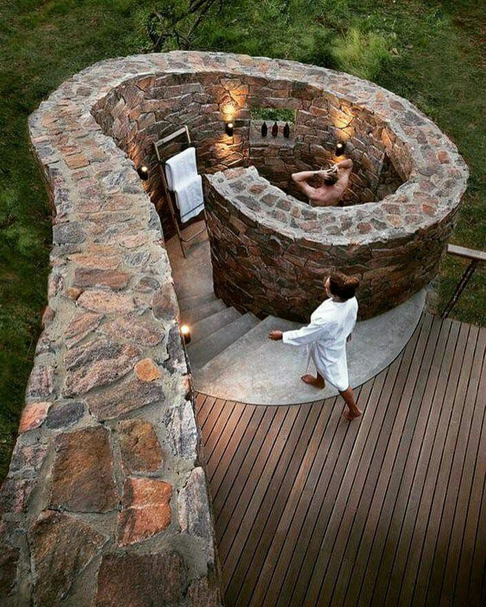 how awesome is this stone wall enclosed outdoor shower image via awesome. Black Bedroom Furniture Sets. Home Design Ideas
