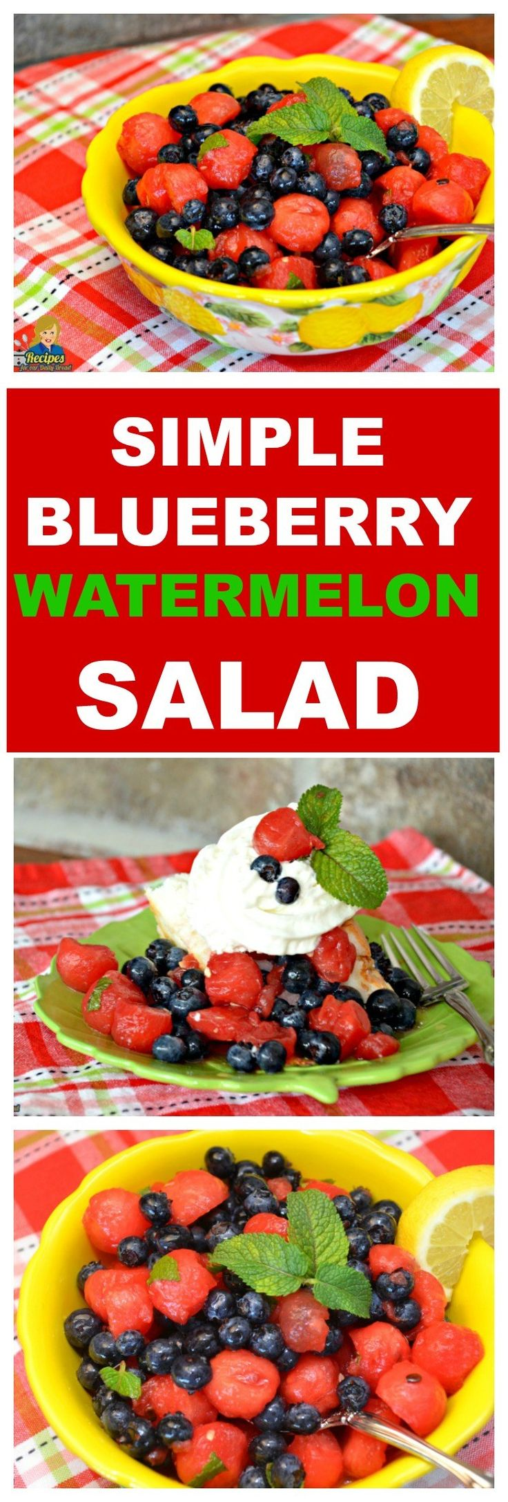 EASY SIMPLE SUMMER BLUEBERRY WATERMELON SALAD You cannot celebrate summer without cold watermelon. I am going to show you how to make an easy Watermelon salad to enjoy on a hot summer day. SEE FULL RECIPE HERE: http://recipesforourdailybread.com/blueberry-watermelon-salad/
