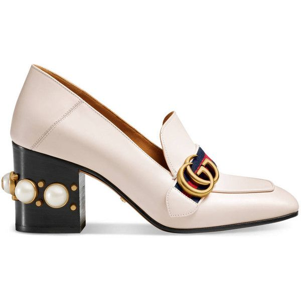 Gucci Leather Mid-Heel Pump (€835) ❤ liked on Polyvore featuring shoes, pumps, white, women, studded heel pumps, gucci shoes, loafer shoes, square-toe pumps and loafer pumps