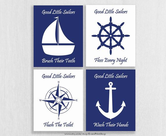 Nautical bathroom art prints set of 4 nautical bathroom for C bhogilal bathroom accessories