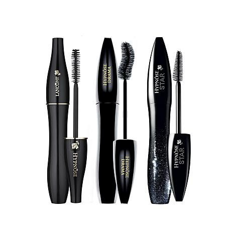 Lancôme Hypnôse Mascara Mania 3 PC Lash Celebration Collection SET MSRP: $82.50 For The SET GLAM: $69.00 & FREE SHIPPING TO U.S.  Build big, battable lashes in your 3 full size favorite shades of black. Hypnôse Drama Mascara A mascara that creates full body, high-volume lashes in a single stroke. Get dramatic eye looks when you brush on Hypnose Drama. The full contact brush, with its S-shaped curve, grasps, and coats lashes for a bold, eye-popping, full body fringe immediately giving a f...