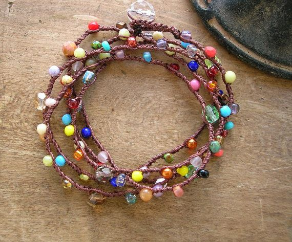 Surfer crochet wrap bracelet long beaded necklace. by 3DivasStudio