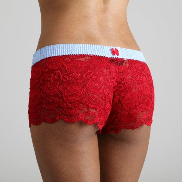 Baby Blue Dot over Red Lace Boxers - The 90% Nylon and 10% Spandex ivory lace is ultra soft and hugs the body.  The FOXER top is made from 100% cotton.    Machine Wash. Imported.
