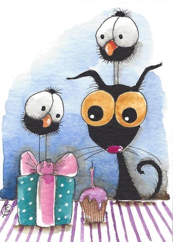 ACEO Original watercolor art painting whimsical bird crow black cat gift cupcake #IllustrationArt