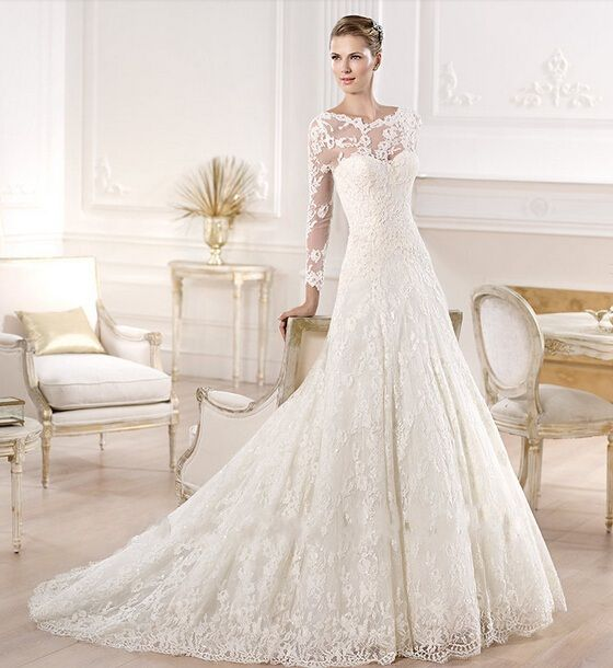 nice Sexy See Through Long Sleeve Lace Wedding Dresses with Detachable Train 2015 Women Bridal Gowns vestidos de noiva