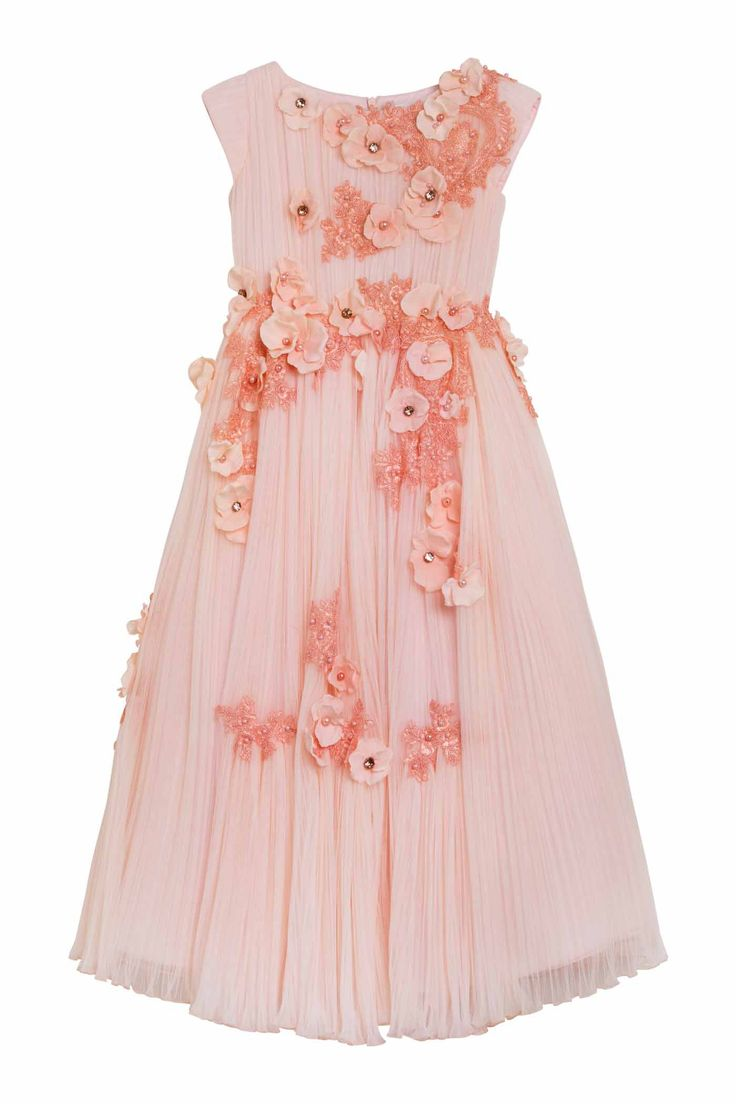 Luxury beautiful dress in peach pink pleated tulle with short sleeves and round neckline body and wide long gathered skirt. The whole dress is embellished by a cascade of pink lace, hydrangeas, crystals and pearls entirely hand-sewn one by one.DELIVERY 7/14 DAYS