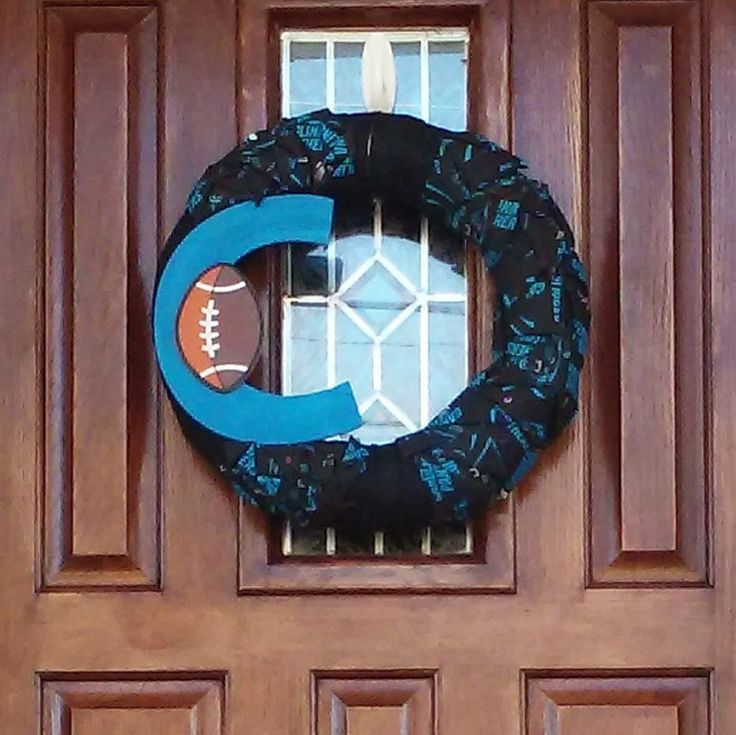 BIG CAROLINA PANTHERS Super Bowl 50th Football Wreath~The Big C~Go Panthers~Game Day~Super Bowl Sunday~w/Quarterback Cam Newton~Door Wreath by TeesWonderfulWreaths on Etsy