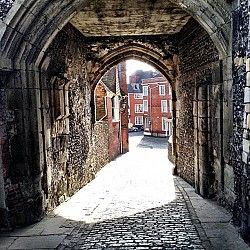 The 1,000 year old Barbican Gate,  Lewes Castle, Sussex, UK.  Built by William de Warenne, 1st Earl of Surrey the brother in law of William the Conqueror (originally called Bray Castle)