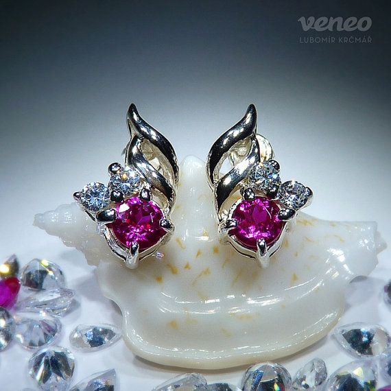 Vega. Silver or Gold Ruby and Zircons Earrings all sizes by Veneo, $57.00