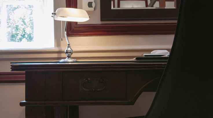 Dark wood desk, luxury hotel. King Suite at Langdon Court, manor house hotel, South Hams Devon.  http://bit.ly/king-queen-suite