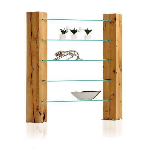 Estantería de madera maciza y vidrio Salinas