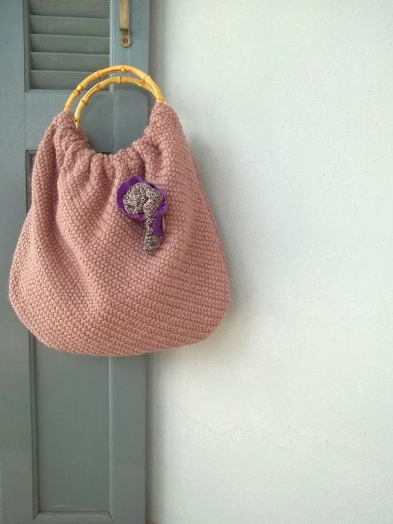 Handbag pouch handle bag old pink with woolen fabric by Loulalalou