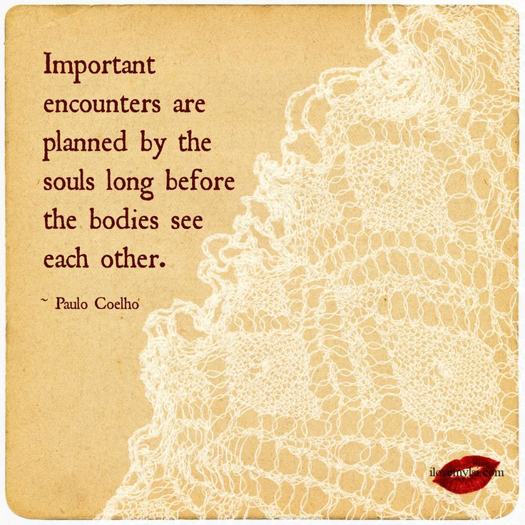 Important encounters are planned by the souls long before the bodies see each other. ~Paulo Coelho