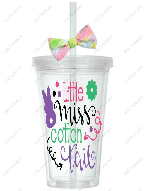 Little Miss Cotton Tail - Customized 16oz Tumbler - Easter Gift for her - Personalized gift for her - Personalized vinyl tumbler by DJsPersonalizedHut on Etsy