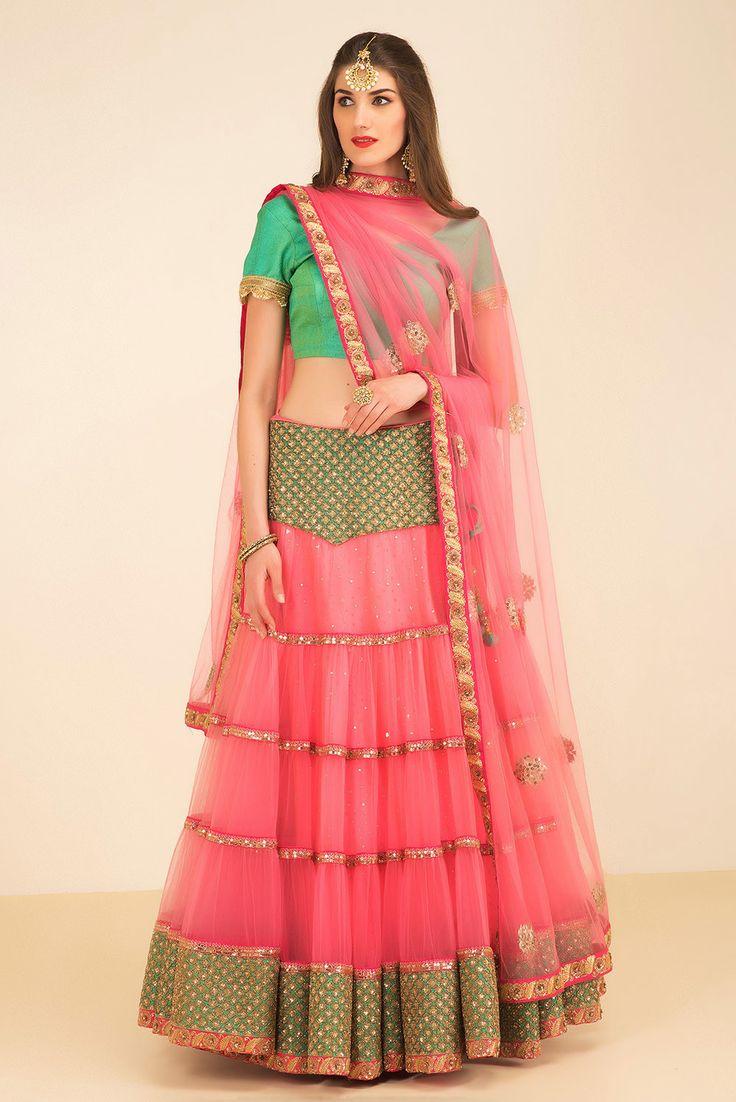 ZARI pink and green tier lehenga set #flyrobe#wedding#weddingoutfit#designerdress#designeroutfit#lehengacholi