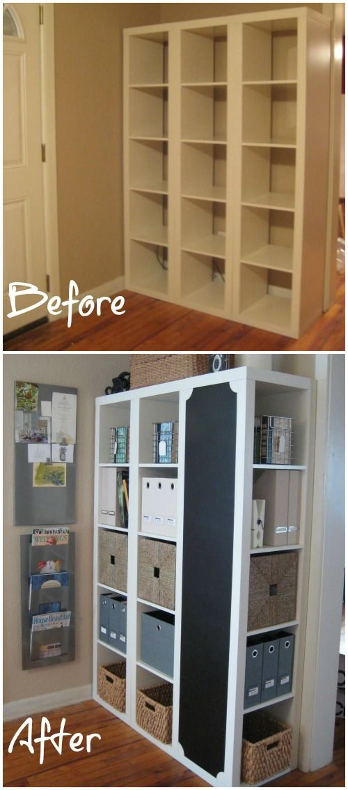 This is a great idea from Iron & Twine. It actually started as three Expedit shelving units from IKEA but when turned on its side, it offers a great storage and organization center that makes a perfect command station.