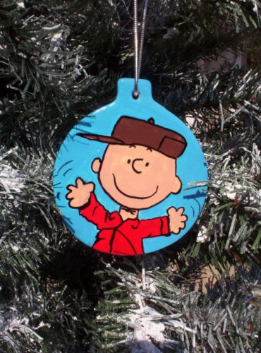 Happy Charlie Brown Peanuts Christmas Ornament 2012 Snoopy Tree Snowstorm | eBay