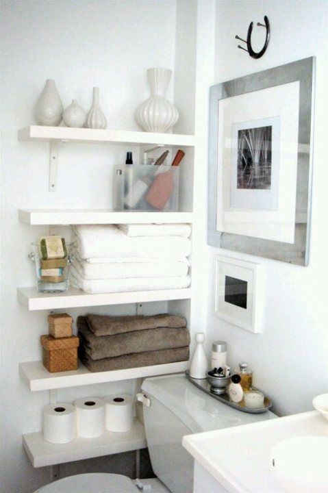 floating shelves in a tiny space gives more storage