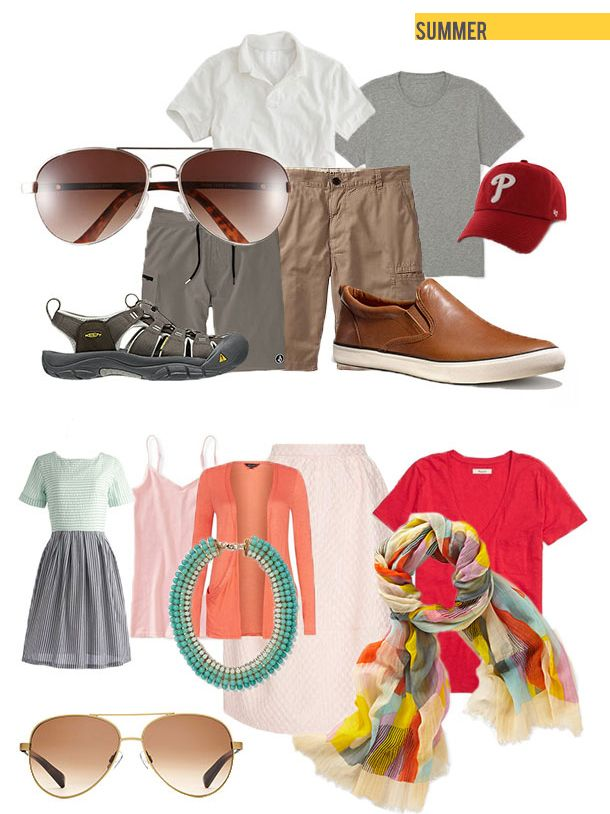 Two good foundations for summer travel outfits. We like mixing and matching within a certain color palette. It extends your wardrobe by days and can be customized for the season (so bright florals, corals, and peach for women, sandy neutrals for men with pops of color, and so on). #summer #summertravel #packing