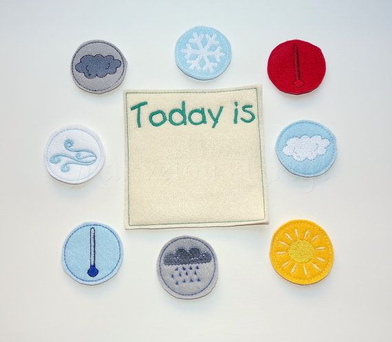 Great way to teach little ones about weather. This listing includes 8 weather pieces and 1 Today is chart(your choice of wording). Circles are