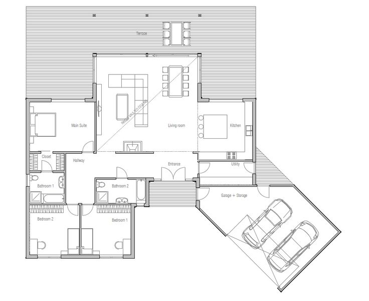 Modern House Plan, Abundance of natural light., three bedrooms, suitable to wide lot.