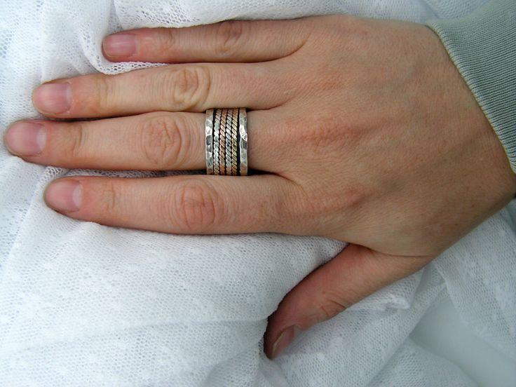 Spinner ring. Rose yellow gold silver spinner ring . unisex spinner ring, birthday gift ideas, gift for him (gsr-7011-515-516-565) by MayaOr on Etsy https://www.etsy.com/listing/73063084/spinner-ring-rose-yellow-gold-silver