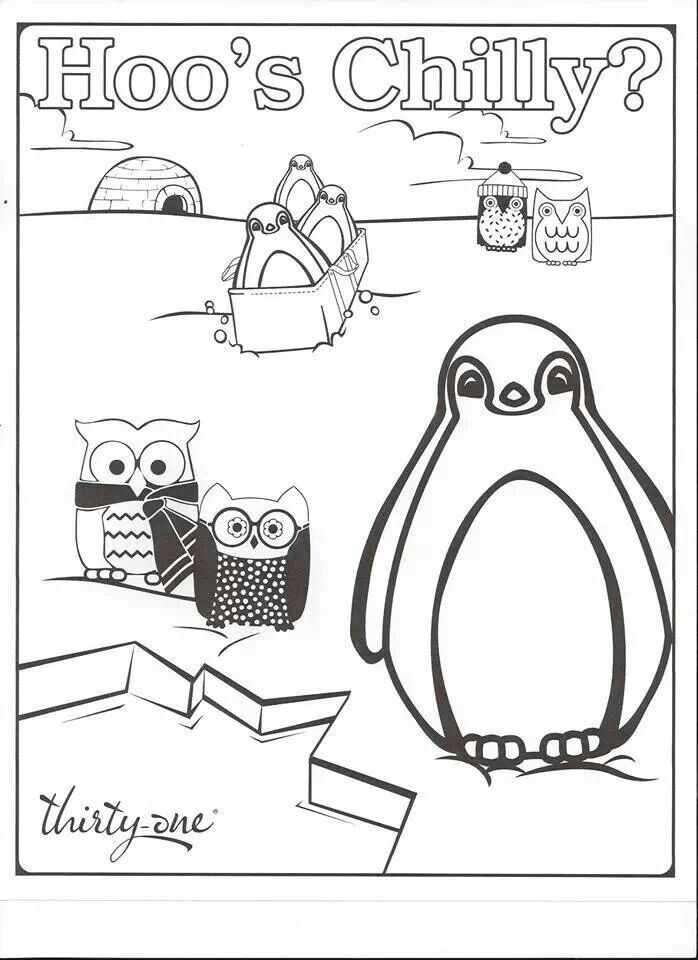 "Thirty-one coloring page for the kids...features ""Hoo's Chilly""... the popular owl pattern!!"