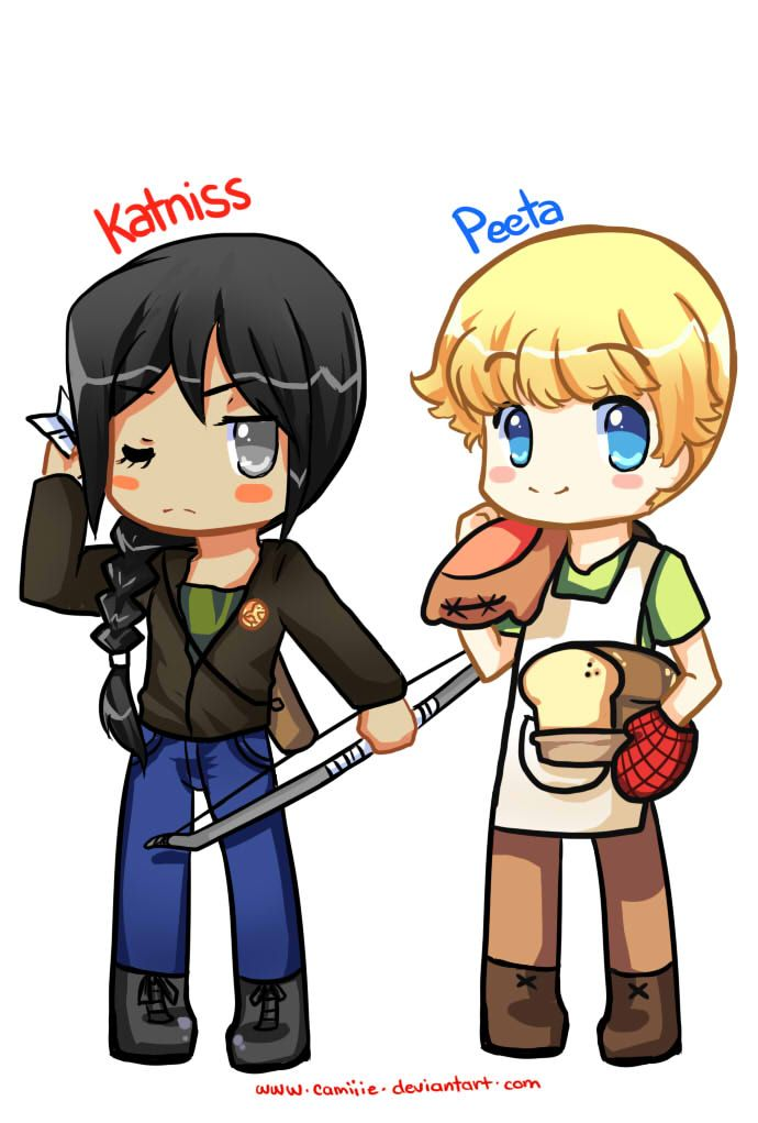 katniss peeta chibi drawing �� pinterest