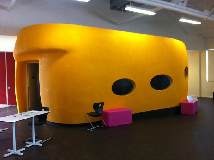 TAFE is having a tough time in Australia as cuts tighten budgets, but this amazing pod in a TAFE institution in perth shows that their imagination is undiminished. Love the peep through windows and relationship between this intimate space and the huge hall is sits in.
