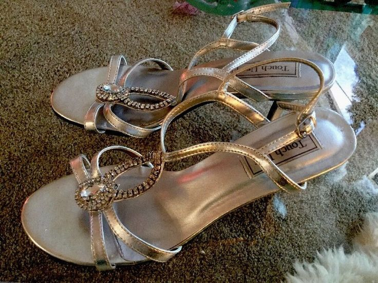 "Silver Sandals Jeweled Sz 10B by Dyeables Crystal Medium Heels 33027 ""Touch-ups""  