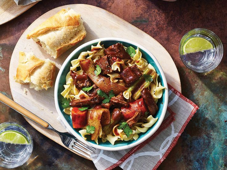 Cooking short ribs in red wine delivers an unbelievably rich sauce perfect for spooning over noodles. Serve with a chunk of bakery bread...
