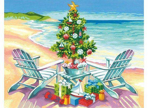 Картина по номерам «Рождество на пляже», раскраска по номерам, Дименшинс