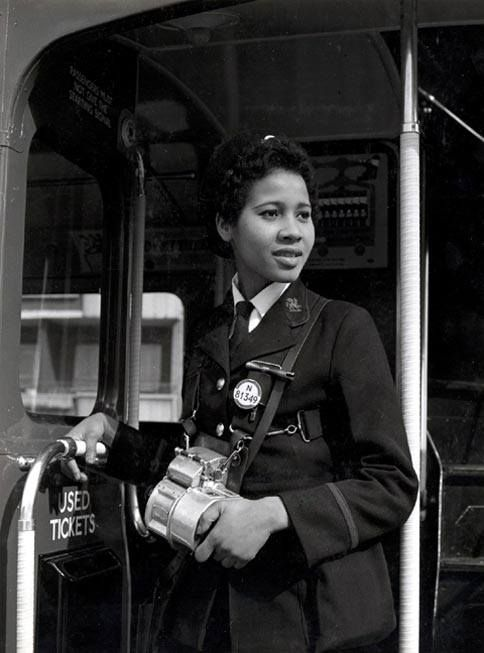 Ms Agatha Claudette Hart, bus conductor, at Stockwell Garage, March 1962. LONDON